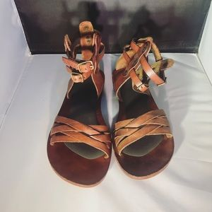 Leather brown gladiator sandals